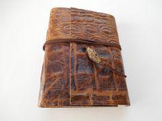 Brown Croc Embossed Leather Journal by artfuladdie on Etsy
