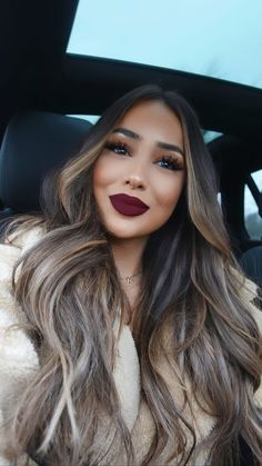 Red Lip Color Go-To Spring Look – Best Beauty images in 2019 Long Wigs, Brunette Hair, Balayage Hair, Hair Dos, Gorgeous Hair, Gorgeous Makeup, Hair Inspiration, Curly Hair Styles, Beauty Hacks
