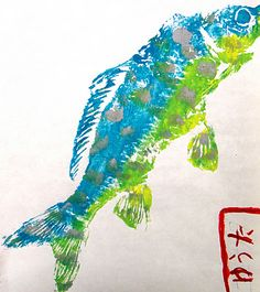 Gyotaku Fish Prints-For the Love of Art: 4th Grade. Using actual fish! Perfect for summer camp. #fish #prints