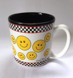 Smiley Mug Happy Smiles Face Emotion Yellow Black Funny Coffee Cup  #FIB
