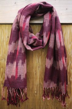 Ikat Scarf - Dark Burgundy. Handwoven on traditional looms in the Philippines. $141 on Ethical Ocean. #handmade