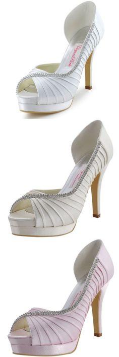 Wedding Shoes And Bridal Shoes: Ep11064-Ipf Peep Toe High Heel Rhinestones Platform Pumps Wedding Shoes Us 4-10 -> BUY IT NOW ONLY: $56.99 on eBay!
