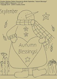 "Primitive Stitchery E-Pattern Snowman by Month September, ""Autumn Blessings!"""