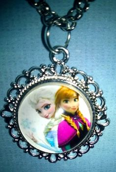 ELSA & ANNA Necklace FROZEN Silver Plated Pendant Chain Girls Womans Gift #New #Pendant