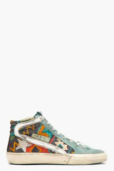 GOLDEN GOOSE Blue & Grey Canvas Patterned Rug SLIDE Sneakers