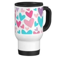 Cute Pink Purple and Blue Hearts Pattern Travel Coffee Mug- My original abstract art, pattern, and design. This cute travel mug has a colorful pattern w/various shades of pink, purple, and turquoise blue hearts. This would make a great Valentine's Day gift for her; especially for girls and teens! You can personalize it and add a name, too. Visit my store to shop for more cute and colorful gifts- www.zazzle.com/abstractpaintings*/