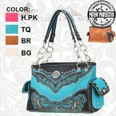 Cug 8085 Concealed Handgun Purse With Chain Handles Pink Turquoise Brown Or White