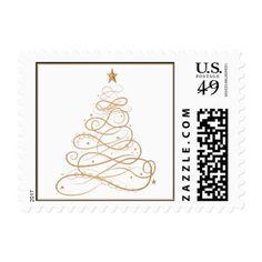 Gold Metallic Filigree Christmas Tree Minimalist Postage