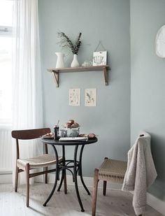 Pale blue painted walls