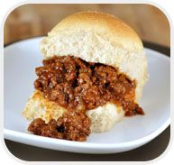 Sloppy Joes Sliders  =super easy for a party.  Keep the sloppy Joe's in a crock pot and just dip up several at a time.  The tiny buns stay soft and fresh.