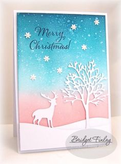 Bare Tree Die: SNSS,  blend inks, spritz, pressed w/ paper towel, by bfinlay - Cards and Paper Crafts at Splitcoaststampers