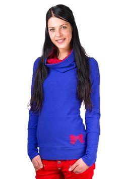 """Hoodies - Hoody """"Schleife"""",blau, rot, gepunktet - ein Designerstück von…"""