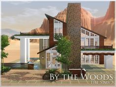 By The Woods by aloleng (The Sims A house with high ceiling. Dining room, living room, family room with fireplace. One bedroom at second floor with toilet and bath and office, second. Best Sims, Sims 1, Sims 3 Cc Finds, 3 Storey House, Sims Building, Sims 4 Houses, Sims 4 Game, Sims Community, Sims Resource