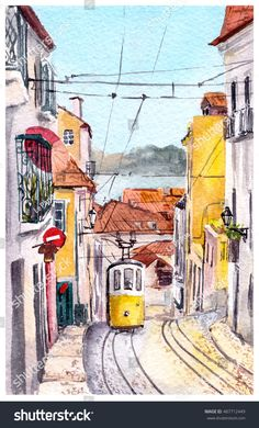Find Lisbon Lisboa View Street Tram Buildings stock images in HD and millions of other royalty-free stock photos, illustrations and vectors in the Shutterstock collection. Pen And Watercolor, Watercolour Painting, Doodle Art Drawing, Art Drawings, Historical Monuments, Travel Illustration, Punk Art, Landscape Drawings, Urban Sketching