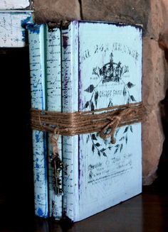 Old French Book Bundle, Aqua Distressed Book Stack, Old Book Decor, Painted Book…