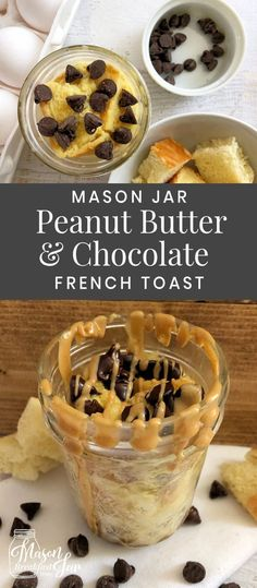 Do you like to start your day with a little sweetness? Then heres your new breakfast BFF, Mason Jar Peanut Butter & Chocolate Microwave French Toast. You can whip up this delicious Mason jar recipe in a few minutes then you can grab it and go. Mason Jar Meals, Meals In A Jar, Mason Jars, Chocolate French Toast, Chocolate Peanut Butter, Microwave French Toast, Mason Jar Breakfast, Best Breakfast Recipes, Breakfast Ideas
