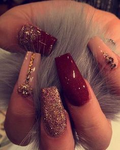 Nude and red nails! Great for prom