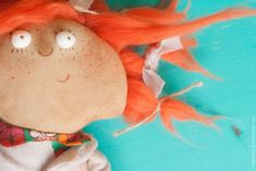 """Купить """"Морковка"""" интерьерная кукла - рыжий, рыжая кукла, рыжик, оранжевый цвет, смешная кукла"""