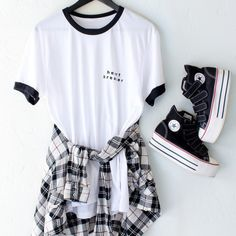t-shirt nyct clothing graphic tee ringer tee heart breaker plaid shirt plaid platform shoes