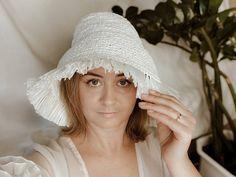 Summer Panama Beach Fringe. Bucket Hat for Women. Crochet hat Scrub Hat Patterns, Raffia Hat, Scrub Caps, Hats For Women, Panama, Lilac, Bucket Hat, Winter Hats, Crochet Hats