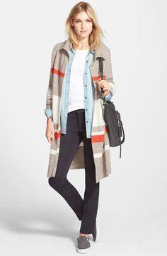 Caslon® Sweater Coat, Halogen® Denim Shirt & NYDJ 'Samantha' Slim Straight Leg Jeans