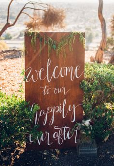 Creative Flow Co. Custom Calligraphy Wooden Wedding Welcome Sign