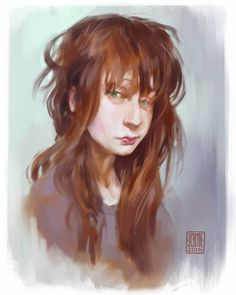 #colorsketch  #sketcheveryday #portrait  warmup painting...been following @nadiaesra  for quite some time and i love her natural and dishevelled selfies :D by schmoedraws