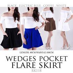 Wedges Pocket Flare Skirt (RK118) - https://www.afwindo.com/shoppusat-grosir-celana-rok-murah/wedges-pocket-flare-skirt-rk118/