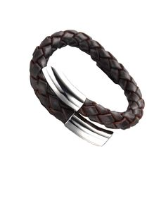 Adjustable Dark Tan Woven Nappa Leather Men's Magnetic Wristband - Forziani