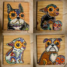 Day of the Dead Style Dog Painting on Wood by PugPaint on Etsy