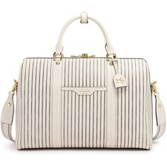 Henri Bendel West 57th Striped Weekend Duffle (3.905 NOK) ❤ liked on Polyvore featuring bags, luggage and sand shell multi