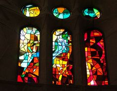 Stained glass windows at The Basilica of the Sagrada Família - WoW!