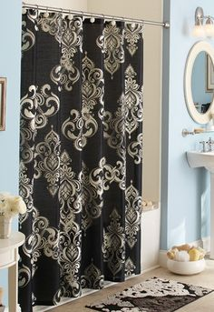 The BHG Traditional Elegance Shower Curtain delivers on-trend style with its oversized black & white damask pattern