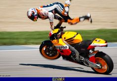 Casey Stoner highsides his Honda RC213V during qualifying for the 2012 Indianapolis MotoGP race. The moment that meant he would not win his final season championship.