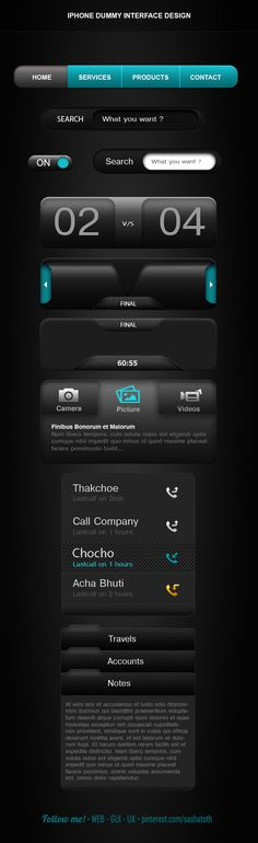 "iPhone Interface Design *** ""This is iPhone4 Interface Design. This is my early time project , you can say whenever I have start learn design."" by Rabin Dey, via Behance *** #iphone #gui #behance"
