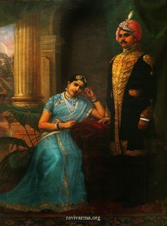 Royalty & their Jewelry Maharaja and Maharani of Kurupam Resplendent in her Basra pearls, diamonds and sapphires, the Maharani of Kurupam wears a semi transparent silk shawl and fitted blouse with woven gold borders, pearls and silver zardozi embroidery. Ravivarma Paintings, Indian Paintings, Raja Ravi Varma, Royal Indian, Nostalgic Images, King Photography, Vintage India, Indian Art, Indian Beauty