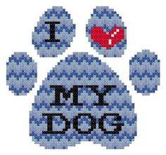 I Love My Dog Paw Print Blue ZigZag Cheveron by TheGiftMarket, $3.00