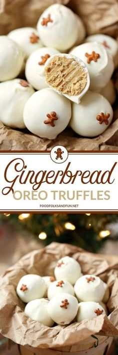 These Gingerbread OREO Truffles are easy holiday treats that are great for Chris. - These Gingerbread OREO Truffles are easy holiday treats that are great for Christmas parties, cookie exchanges, and gifting! Christmas Sweets, Christmas Cooking, Christmas Parties, Xmas, Christmas Candy, Christmas Recipes, Diy Christmas, Christmas Truffles, Baked Gifts For Christmas