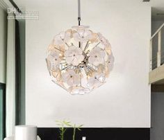 Wholesale Pendant Lamps - Buy Modern Fashion Design White Glass Flower Pendant Light Chandelier Living Room Light Dia 40cm, $426.09 | DHgate...
