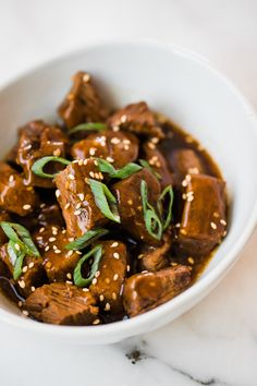 Crock Pot Teriyaki Steak Bites - Easy and flavorful! I love making this with rice and a veggie for an easy weeknight dinner or make and serve as is for a high protein appetizer. Steak Recipes, Slow Cooker Recipes, Crockpot Recipes, Healthy Recipes, Kale Recipes, Casserole Recipes, Yummy Recipes, Healthy Food, Yummy Food
