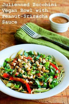 Recipe for Julienned Zucchini Vegan Bowl with Peanut-Sriracha Sauce [from Kalyn's Kitchen] #MeatlessMonday #Vegan #LowGlycemic