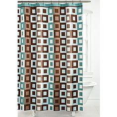 Metro Square Shower Curtain In Aqua And Brown My New Bathroom Decor