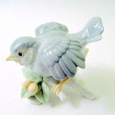 Otagiri Porcelain Gray Bird Figurine Wings Fluffed Green Leaves Branch Berries