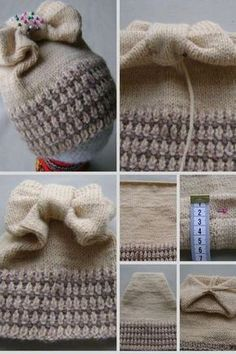 knitted cap with bow