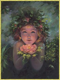 Little fairy with magic flower.
