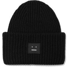 Acne Studios Ribbed Wool Pansy Beanie Hat ($105) ❤ liked on Polyvore featuring accessories, hats, ribbed hat, wool beanie, beanie cap, cocktail hat and holiday hats