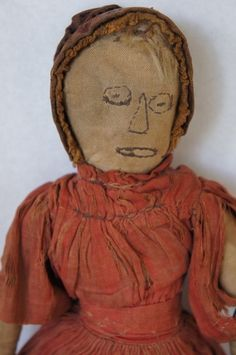 Embroidered face antique cloth doll all original C. 1880