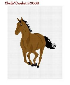 INSTANT DOWNLOAD Chella Crochet Brown Horse by chellacrochet, $4.00
