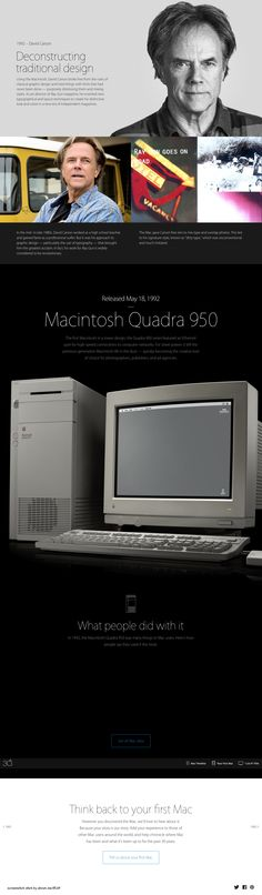 """Apple Mac @30 2014-01-24 off'l Anniversary mini site: USA """"Apple - Thirty Years of Mac"""" - page: 1992 inventing Deconstructing traditional Graphic Design (through Steve Job's favorite: break rules ...of classical graphic design...novel typographical & layout designs...distressing & mixing fonts): David Carson • http://www.apple.com/30-years/1992"""