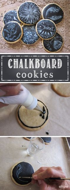 "Make plain sugar cookies into a tasty work of art with this easy recipe and design technique! Completely edible and safe, the kids can enjoy decorating their own or the full batch of ""chalkboard"" cookies!"